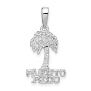 925 Sterling Silver Puerto Rico under Palm Charm